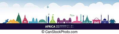 illustration., vektor, spielraum- bestimmungsort, afrikas, ...