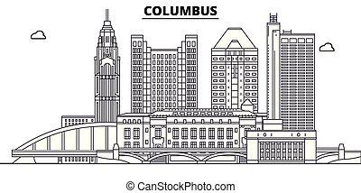 illustration., vektor, staaten, columbus, vereint, skyline, reise, grobdarstellung