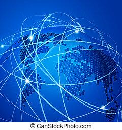 illustration, vektor, teknologi, netværk, mesh