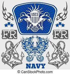 illustration., -, vektor, tervezés, haditengerészet, hadi