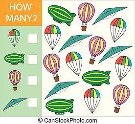 illustration., velen, voorwerp, spel, lucht, hoe, getallen, vector, mathematics., vervoeren, leren, children., telling, preschool