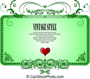 illustration., vendange, cadre, vecteur, invitation, carte, style