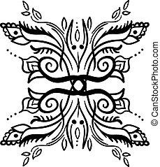 illustration, vendange, dessin, arrière-plan., vecteur, blanc