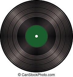 illustration, vendange, enregistrement, vecteur, noir, vinyle