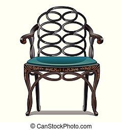 illustration., vendange, isolé, arrière-plan., vecteur, chaise, blanc