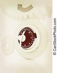 illustration., vendange, lock., engrenages, style., 3d