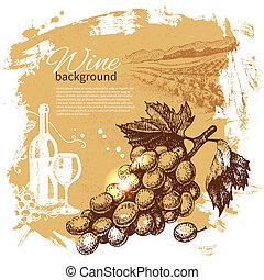 illustration., vendange, main, arrière-plan., éclaboussure, conception, retro, dessiné, vin, goutte