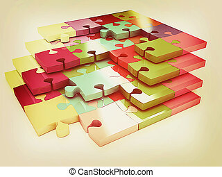 Illustration, vendange,  Puzzle, modèle,  many-colored,  Style,  3D