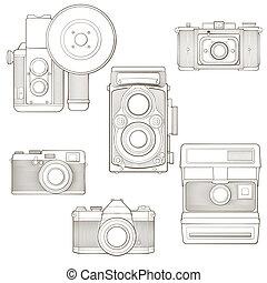 illustration., vendange, set., cameras, vecteur, photo