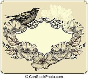 illustration., vendemmia, cornice, vettore, roses., azzurramento, uccello