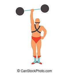 illustration., vendemmia, strongman, circo, vettore, icon.