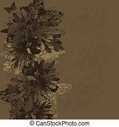 illustration., vendemmia, vettore, fondo, butterflies., floreale