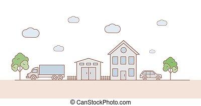 illustration., verde, cartone animato, strada, paesaggio, vettore, automobili, moderno, house., albero, garage, famiglia, suburbano, contorno