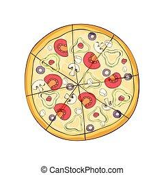 illustration., verdura, vettore, pronto, cheese., pizza