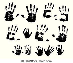 illustration., vernice, fondo., vettore, nero, handprints, bianco