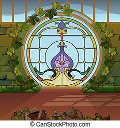 illustration., verre, architecture., vendange, taché, rond, greenhouses., fenêtre, vecteur, ou, jardin, hiver