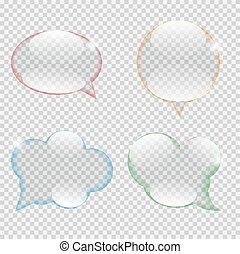 illustration, verre, vecteur, parole, transparence, bulle