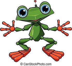 illustration, vert, robot, grenouille, stockage
