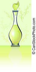 illustration., verzierung, parfüm, vektor, grün, flasche