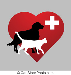 illustration veterinary symbol with dog and cat