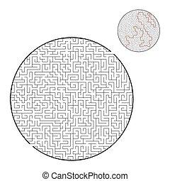 illustration., vetorial, conundrum., grande, quebra-cabeça, path., jogo, achar, maze., children., crianças, direita, adults., difícil, apartamento, labirinto