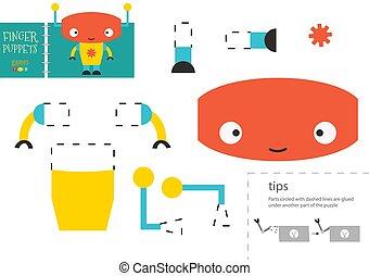 illustration., vetorial, corte papel, robô, corte, cola, brinquedo, tesouras, modelo, personagem