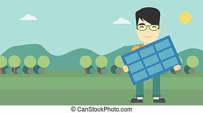 illustration., vetorial, solar, segurando, homem, painel
