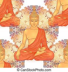 illustration., vettore, budda, composition., spirituality., esoterico, testa, spirituale, yoga, vendemmia, pattern., buddismo, seamless, decorativo, indiano