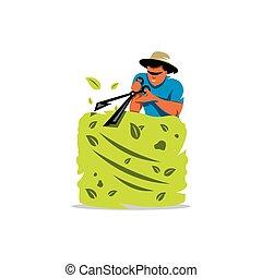 illustration., vettore, care., cartone animato, giardiniere, giardino