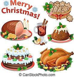 illustration., vettore, cibo, vino., cena, natale, torta, cartone animato, pasticciato, tacchino, tradizionale, icone, set, arrosto, budino, prosciutto, dessert