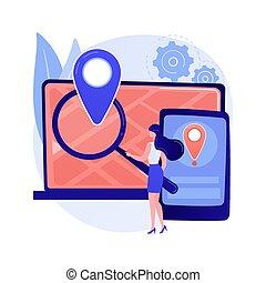 illustration., vettore, concetto, astratto, cross-device, inseguimento