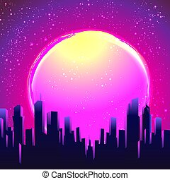 illustration., vettore, futurism., festa, skyline., sagoma, ...