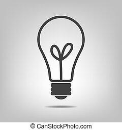 illustration., -, vettore, nero, bulbo, luce