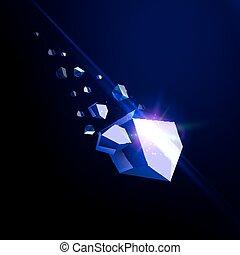 illustration., vettore, sagoma, insolito, logotipo, zaffiro, blu, asteroide, crollare, isolato, bellezza, cadere, detriti, pietra, spazio, 3d