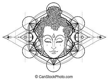 illustration., vettore, spiritualità, art., ornare, tatuaggio, faccia, vendemmia, indiano, budda, tailandese, esoterico, pattern., zen, yoga, dio, rotondo, mandala, spirituale, sopra, buddismo, hippie