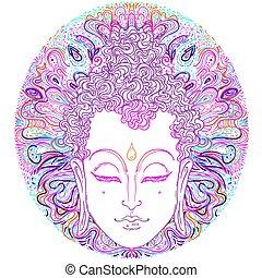 illustration., vettore, spiritualità, art., ornare, tatuaggio, faccia, vendemmia, indiano, budda, tailandese, esoterico, pattern., zen, yoga, dio, mandala, spirituale, sopra, buddismo, hippie