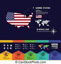 illustration., vettore, stati, america, destinazione corsa, unito, grande