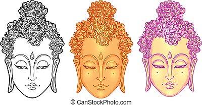 illustration., vettore, white., spiritualità, art., tatuaggio, faccia, isolato, vendemmia, indiano, budda, tailandese, esoterico, zen, yoga, dio, spirituale, buddismo, hippie