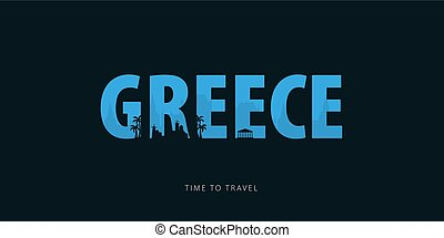 illustration., viaggiare, sights., travel., silhouette, vettore, tempo, bunner, greece.