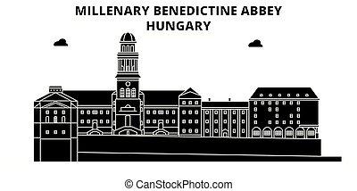 illustration., viaje, abadía, benedictino, contorno, vector,...