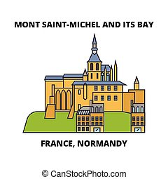 illustration., viaje, -, bahía, francia, mont, vector,...
