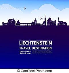 illustration., viaje destino, liechtenstein, vector, ...