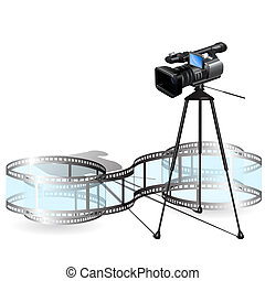 Illustration, video camera on stand on white background