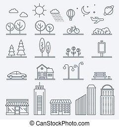 illustration, ville, style, graphique, linéaire, business, bâtiments, icônes, architecture, plat, toile, idéal, vecteur, publications, illustrations, illustration., maisons, style., signs., design.