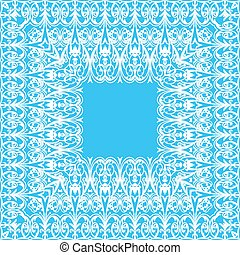 Illustration vintage background with lace frame on a blue