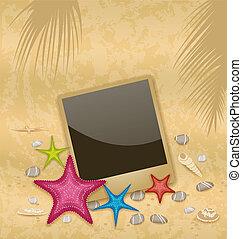 Illustration vintage background with photo frame, starfishes, pebble stones, seashells - vector