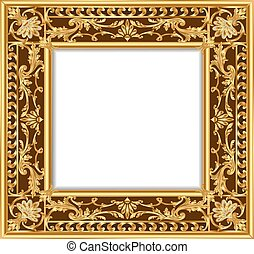 illustration vintage border frame engraving with retro ornament pattern in antique rococo style decorative design