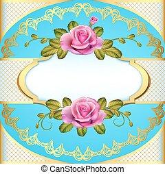 Illustration vintage frame background with roses and golden ornament