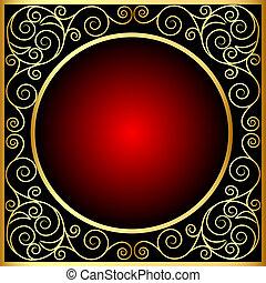 vintage frame with spiral gold(en) pattern