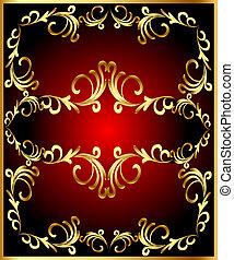 vintage frame with vegetable gold(en) pattern
